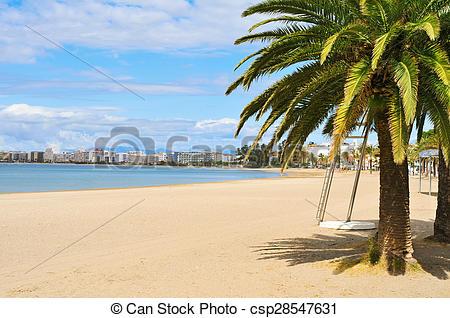 Stock Photos of Platja Nova beach in Roses, Spain.