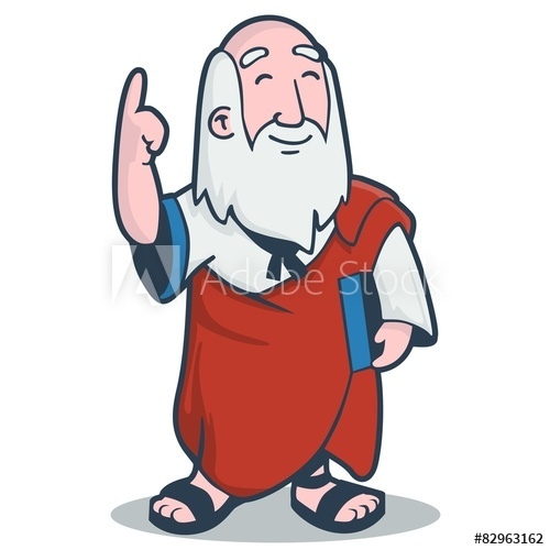 Plato in Flat design cartoon style.