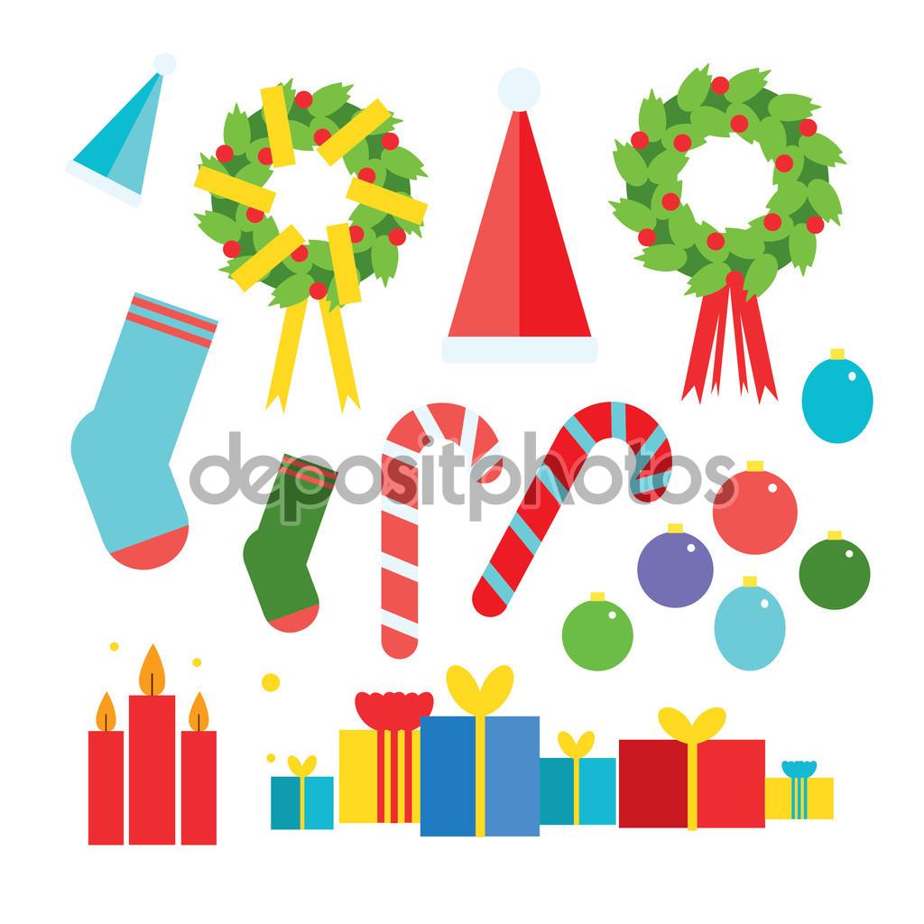 Uppsättning ikoner platt Clipart julkollektion — Stock Vektor.