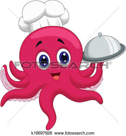 Clipart of Cute pig chef cartoon holding platt k16600823.