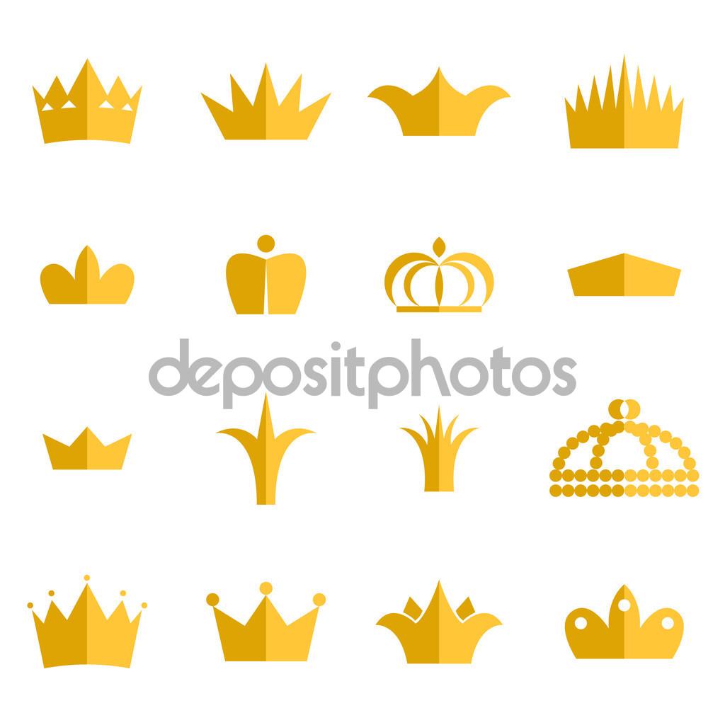 Gold crown clip art vektor set — Stock Vektor © inides #99880892.