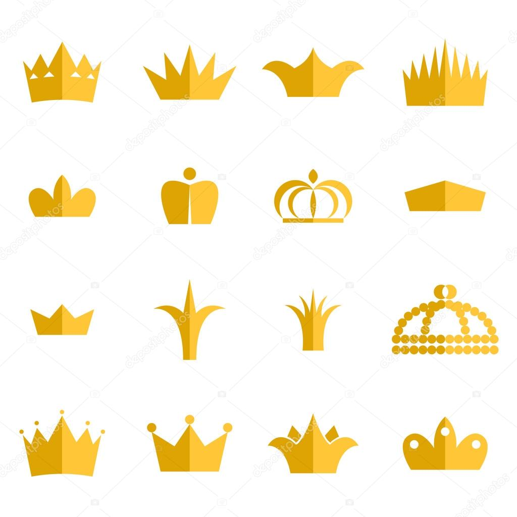 Gold crown clip art vektor set — Stock Vektor © inides #99880892.