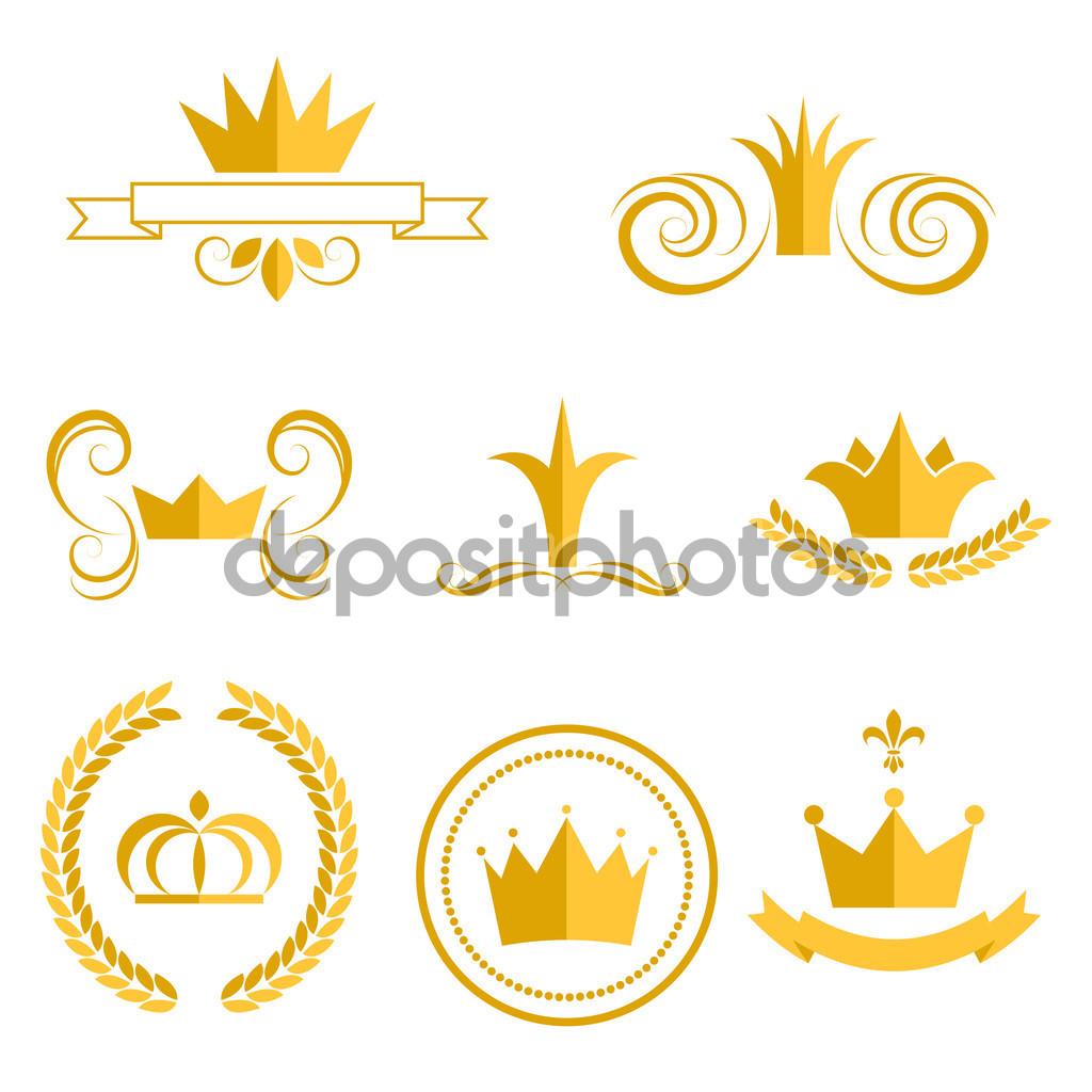 Gold crown logotyper och märken clip art vektor set — Stock Vektor.