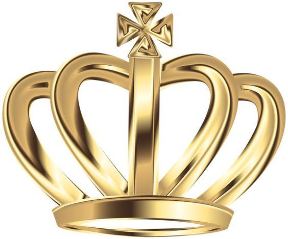 Gold Deco Crown Clip Art PNG Image.