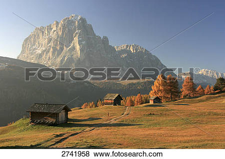 Pictures of Huts in field, Langkofel, Plattkofel, Val Gardena.