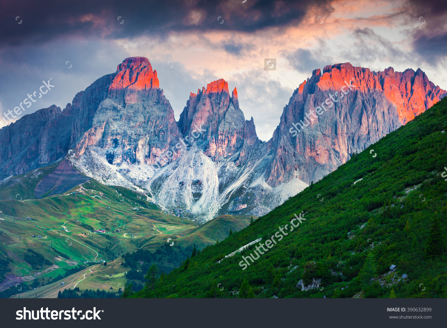 First Sunlight Glowing The Tops Of Spiers Of Plattkofel And.