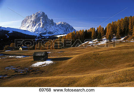 Pictures of Snow on mountains, Plattkofel, Langkofel, Seiser Alm.