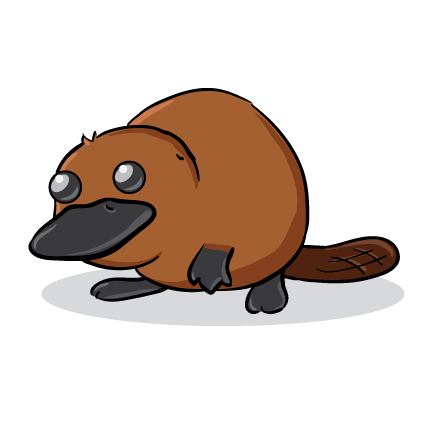 This cute platypus clip art is.