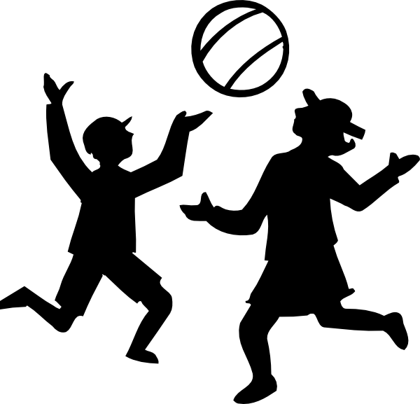 Silhouette Of Kids Playing With A Ball Clip Art at Clker.com.
