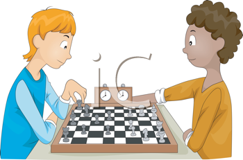 Royalty Free Clipart Image of Two Teens Playing Chess.