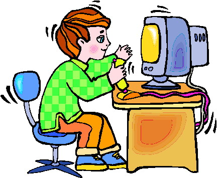 Play computer games clipart.