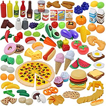 JOYIN Play Food Set 135 Pieces Play Kitchen Set for Market Educational  Pretend Play, Food Playset, Kids Toddlers Toys, Kitchen Accessories Fake  Food,.