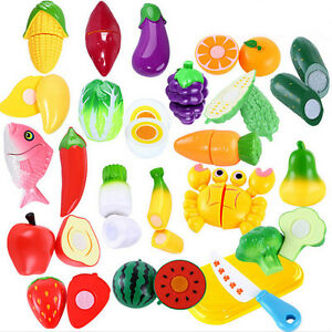 Details about 6PCS Kids Cutting Set Child Gift Role Play Kitchen Fruit  Vegetable Food Toy.