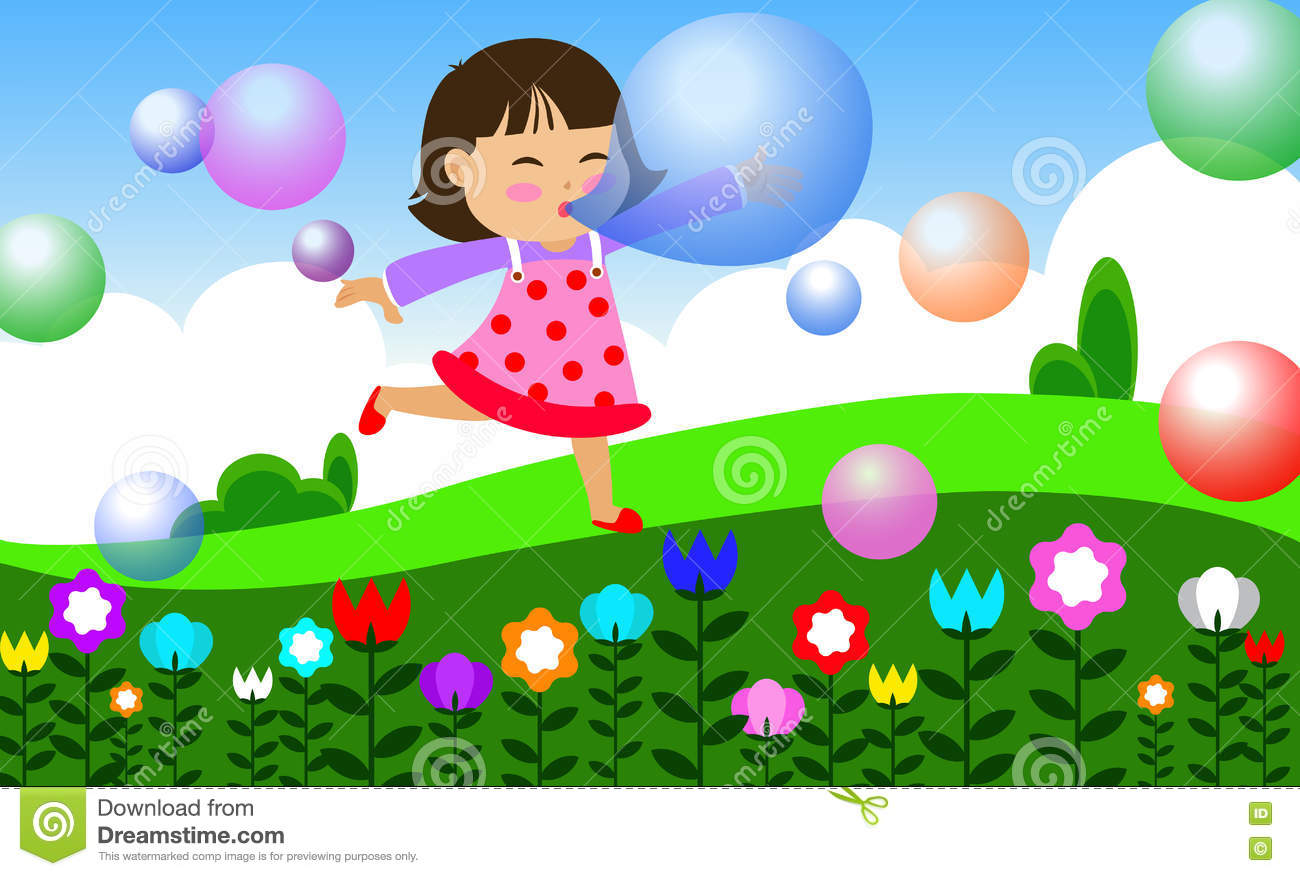 Children Play In Garden Stock Vector.