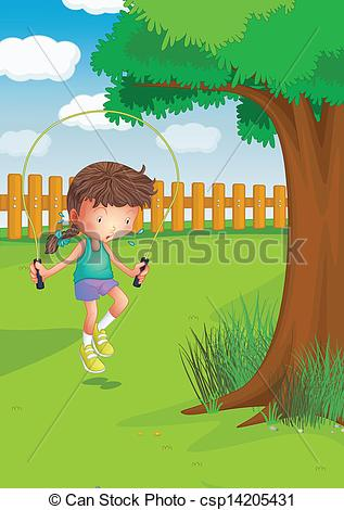 Vectors of A girl playing with a jumping rope at the garden.