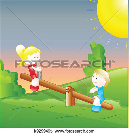 Clipart of Kids Playing in the Garden k9299495.