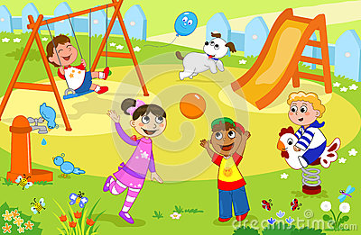 Children Playing In A Garden Stock Illustration.