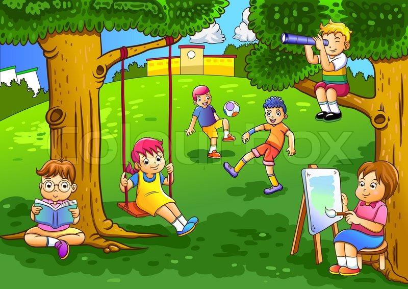 Illustration of a kids playing in the garden.