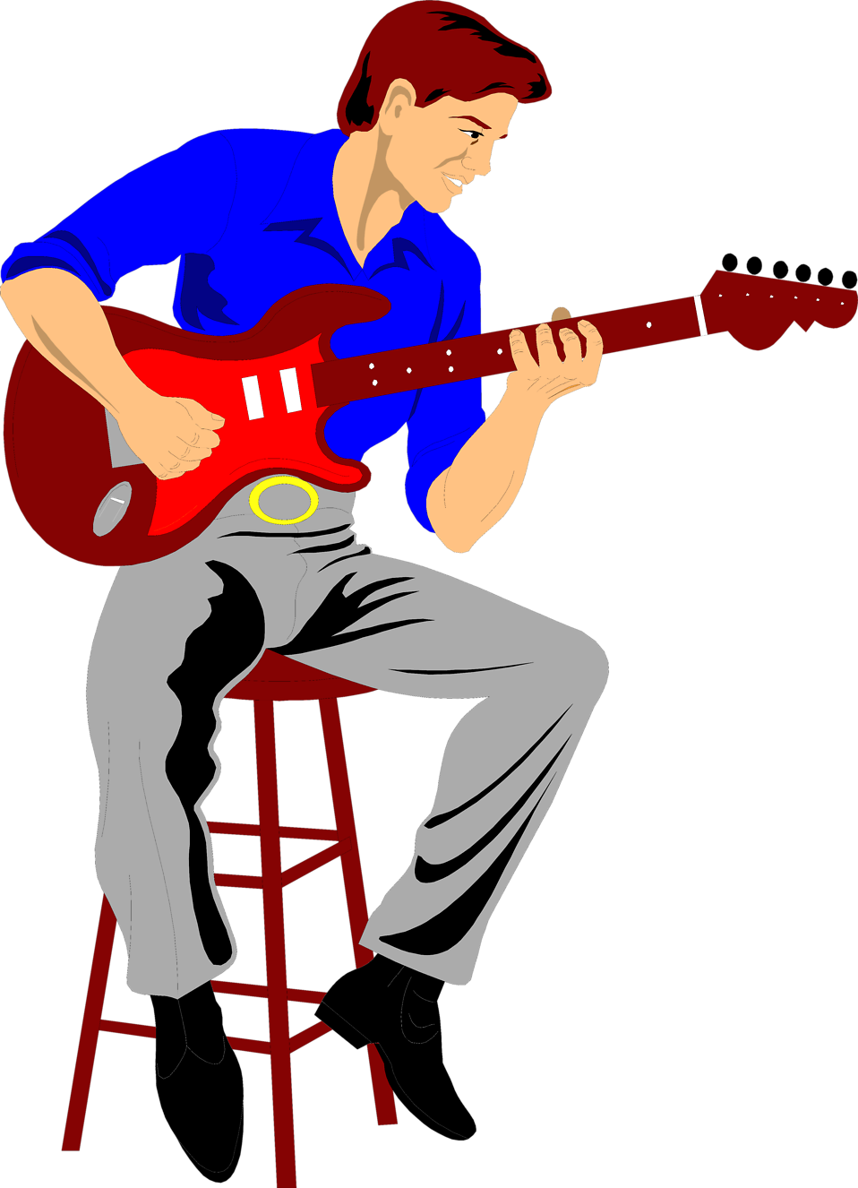 Free Playing Guitar Clipart Image
