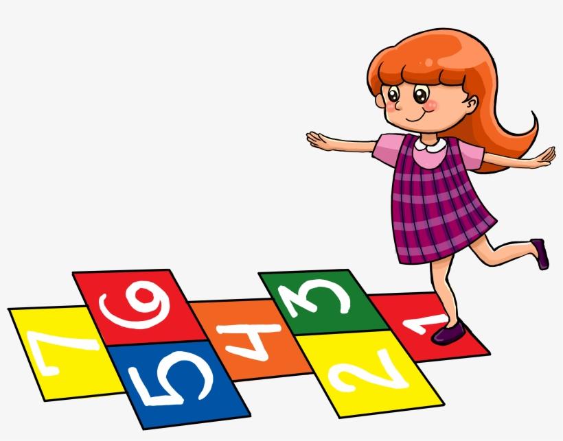 Little Girl Playing Hopscotch @ Tictacteach.