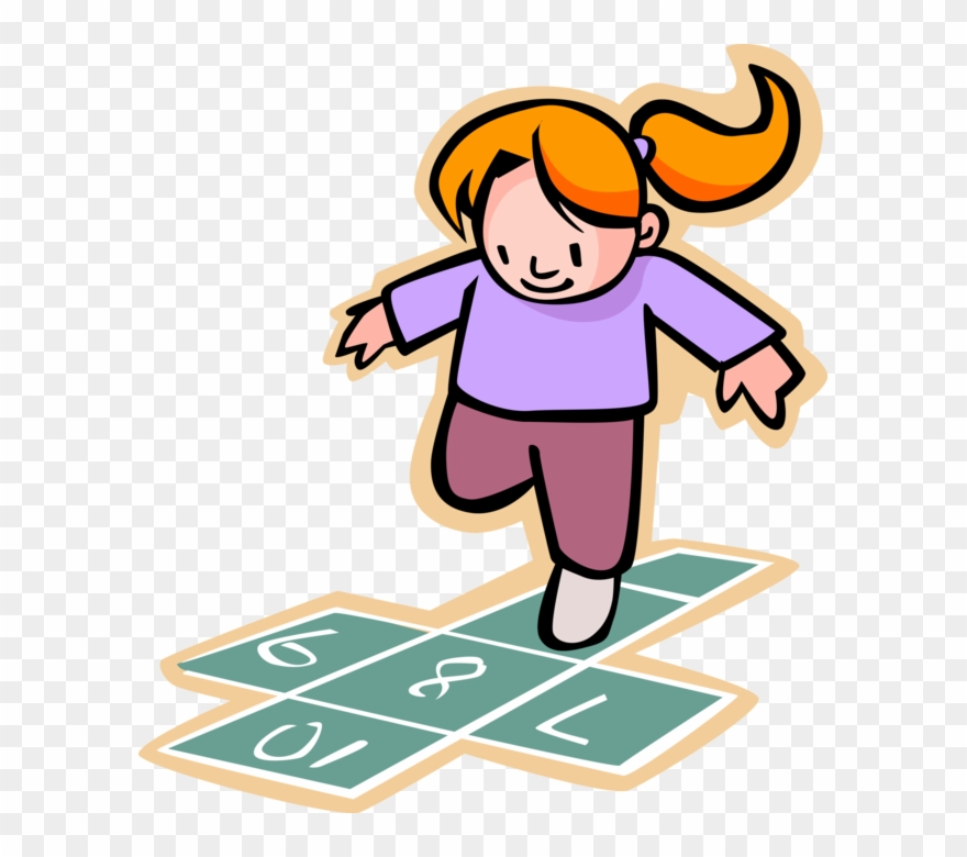 Clip Art Freeuse Download Girl Plays Hopscotch At Recess.