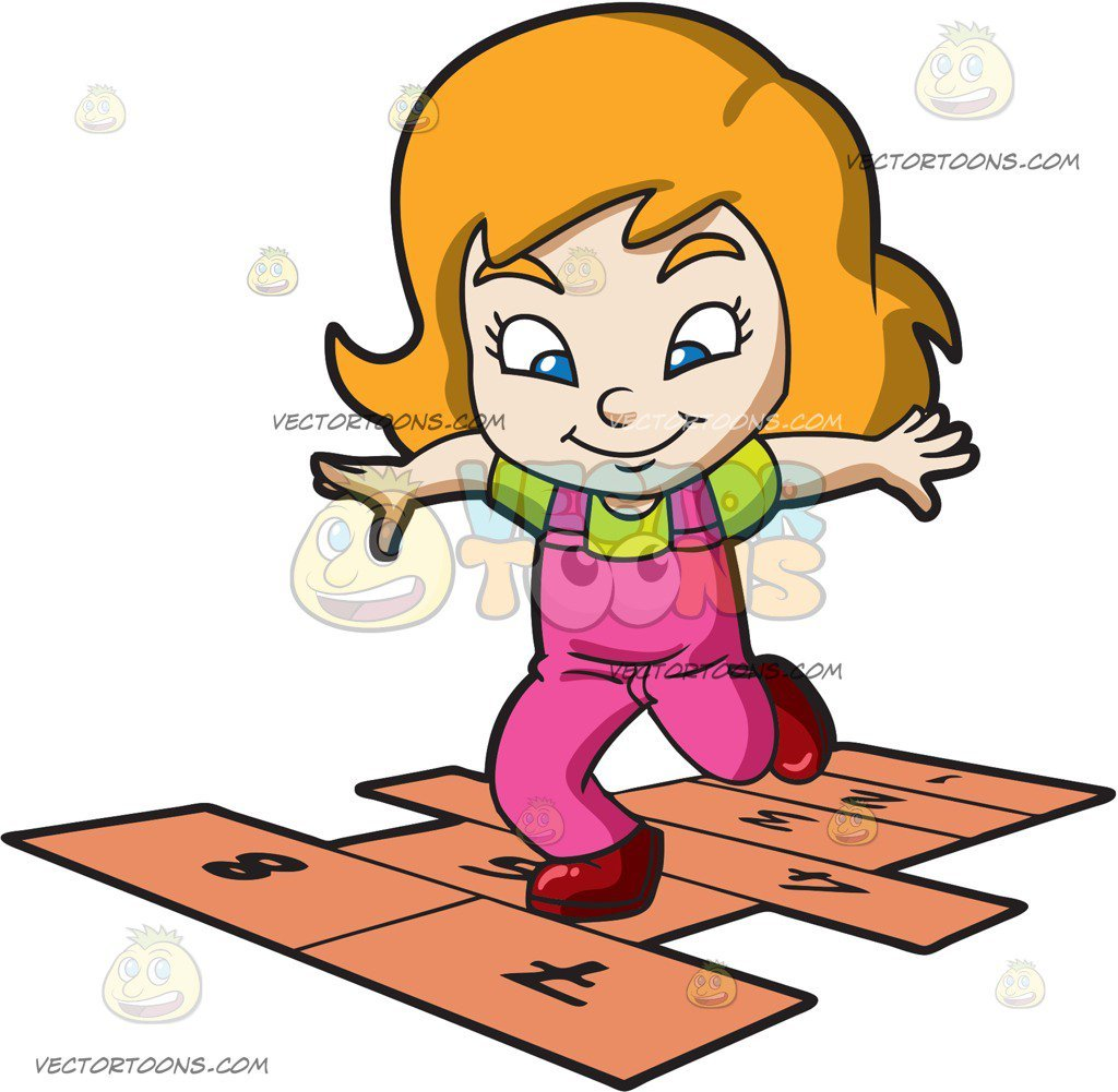 A Young Girl Playing Hopscotch.