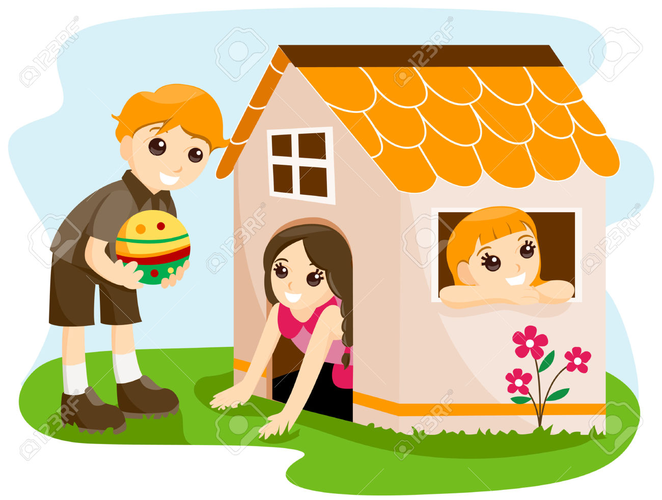 Children At The Playhouse With Clipping Path Royalty Free Cliparts.