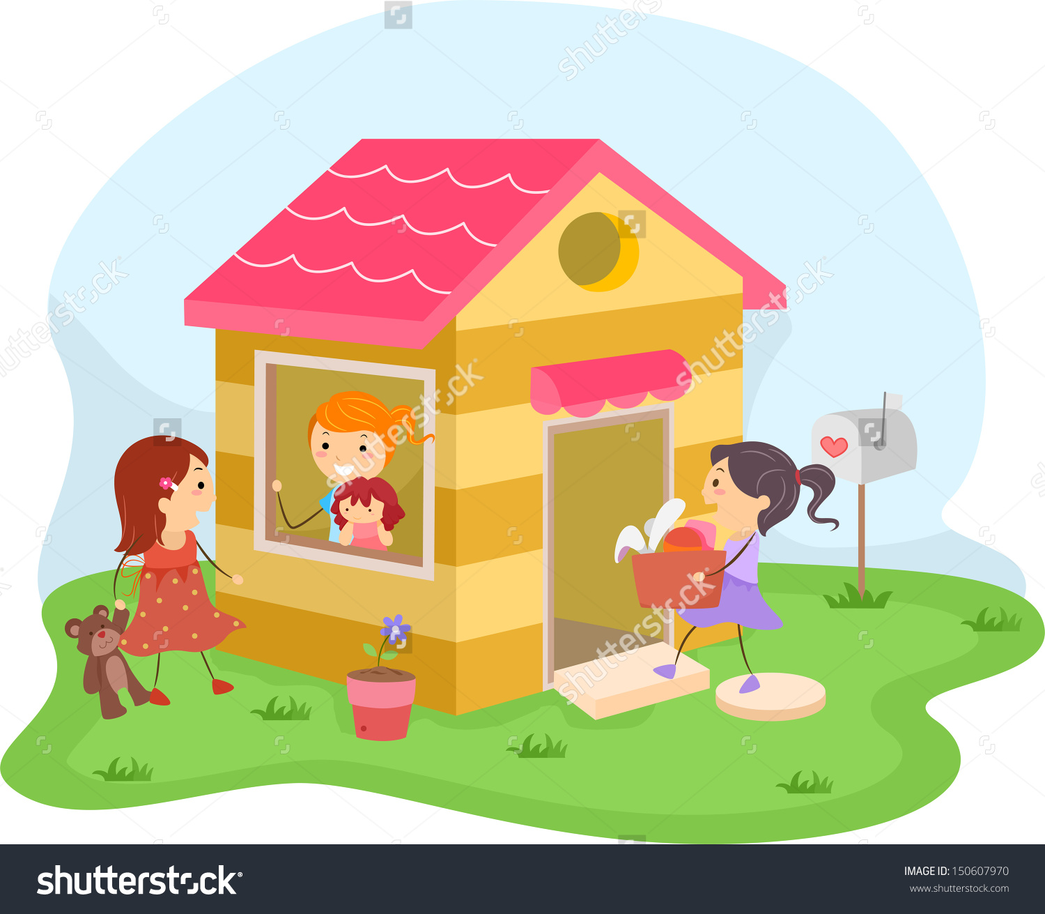 Illustration Group Girls Playing House Stock Vector 150607970.