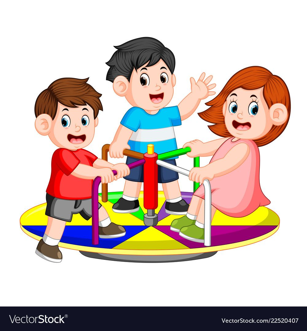 Children play carousel with pleasure Royalty Free Vector.