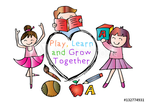 Play, Learn and Grow together. Kids education concept. Hand.