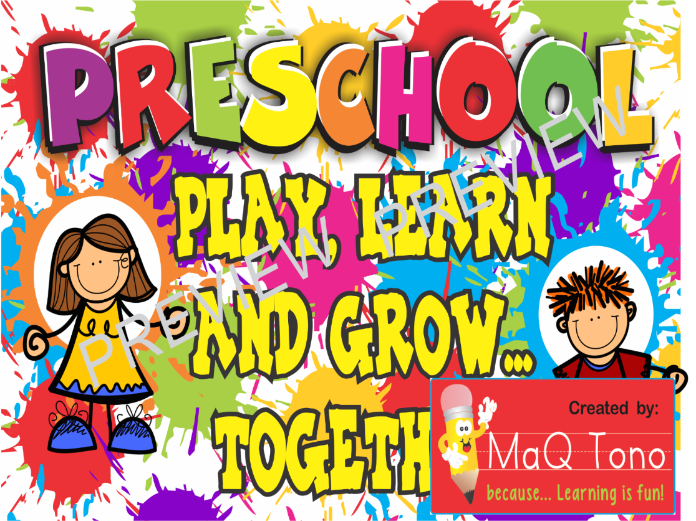 PRESCHOOL PLAY LEARN AND GROW TOGETHER POSTER.