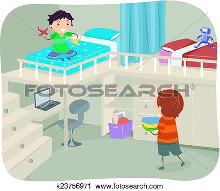 Clipart of Stickman Boys Bedroom Loft k23756971.