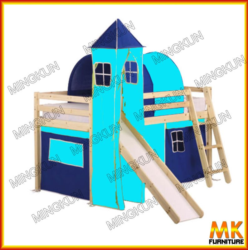Children Play Time Loft Bed With Slider,Tent,Castle,Tunnel.