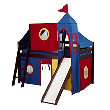 Amazon.com: Jackpot Castle Low Loft Cherry Bed with Slide, Red and.