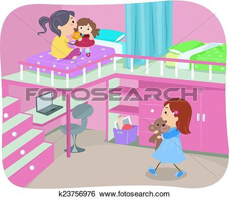 Clip Art of Stickman Girls Bedroom Loft k23756976.