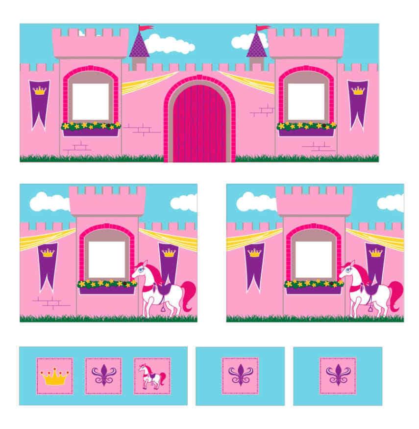Loft Bed Curtains for Kids Princess Castle Bedding Set Twin Size.