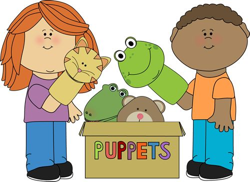 Kids playing with puppets from MyCuteGraphics.