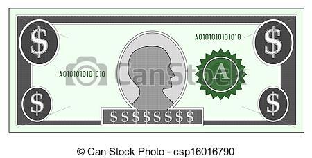 Stock Illustration of Play Money Dollar.