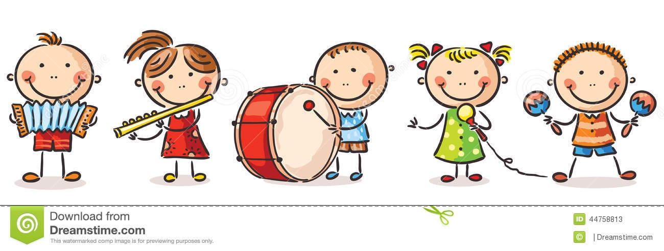 Kids playing musical instruments clipart.