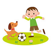 Boy playing outside clipart.