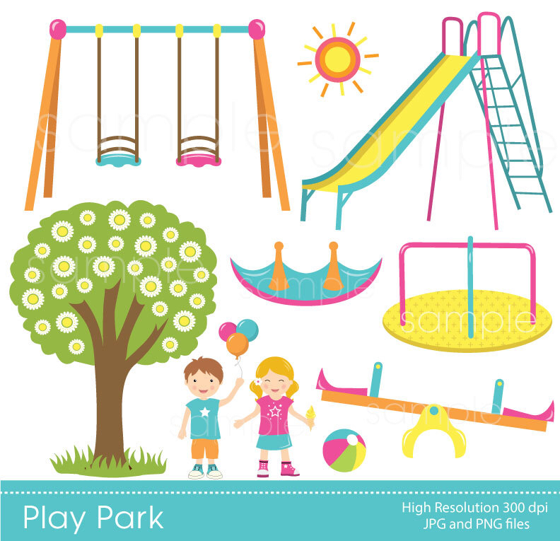 Play Park Clipart, Playground Clipart, Swings Ride Clp art, only.
