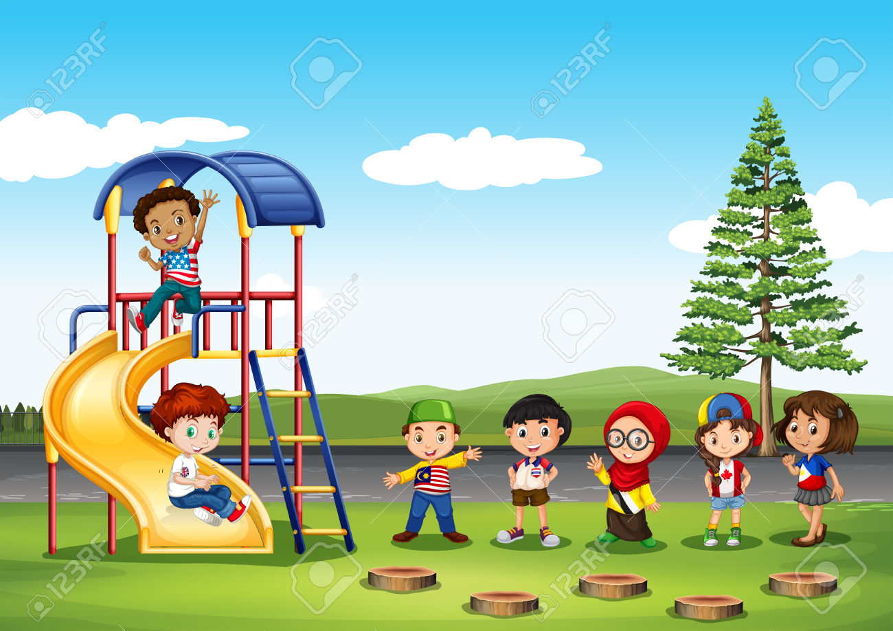 Children playing in the park clipart.