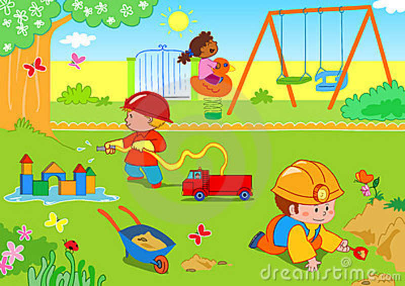 Kids playing in the park clipart.