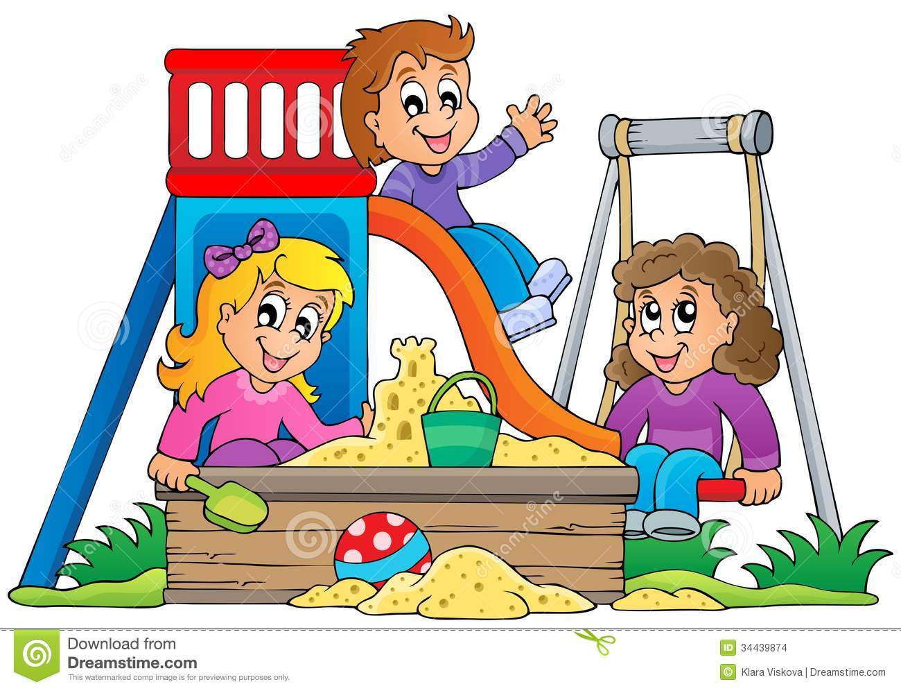 Kids playing on school playground clipart.