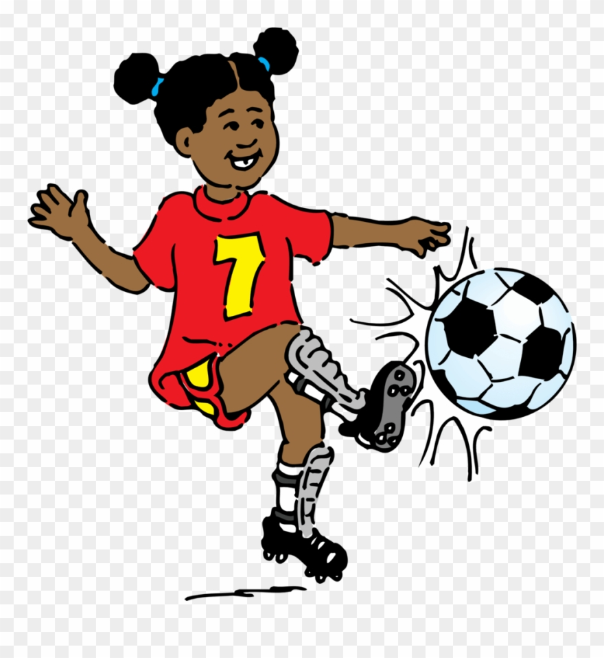 Girl Playing Soccer Clip Art Free Vector.