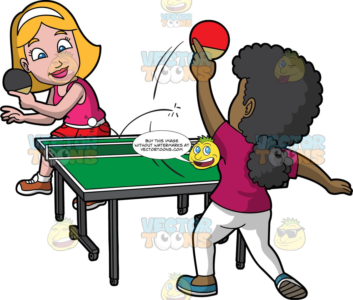 Two Female Friends Having Fun While Playing Table Tennis.