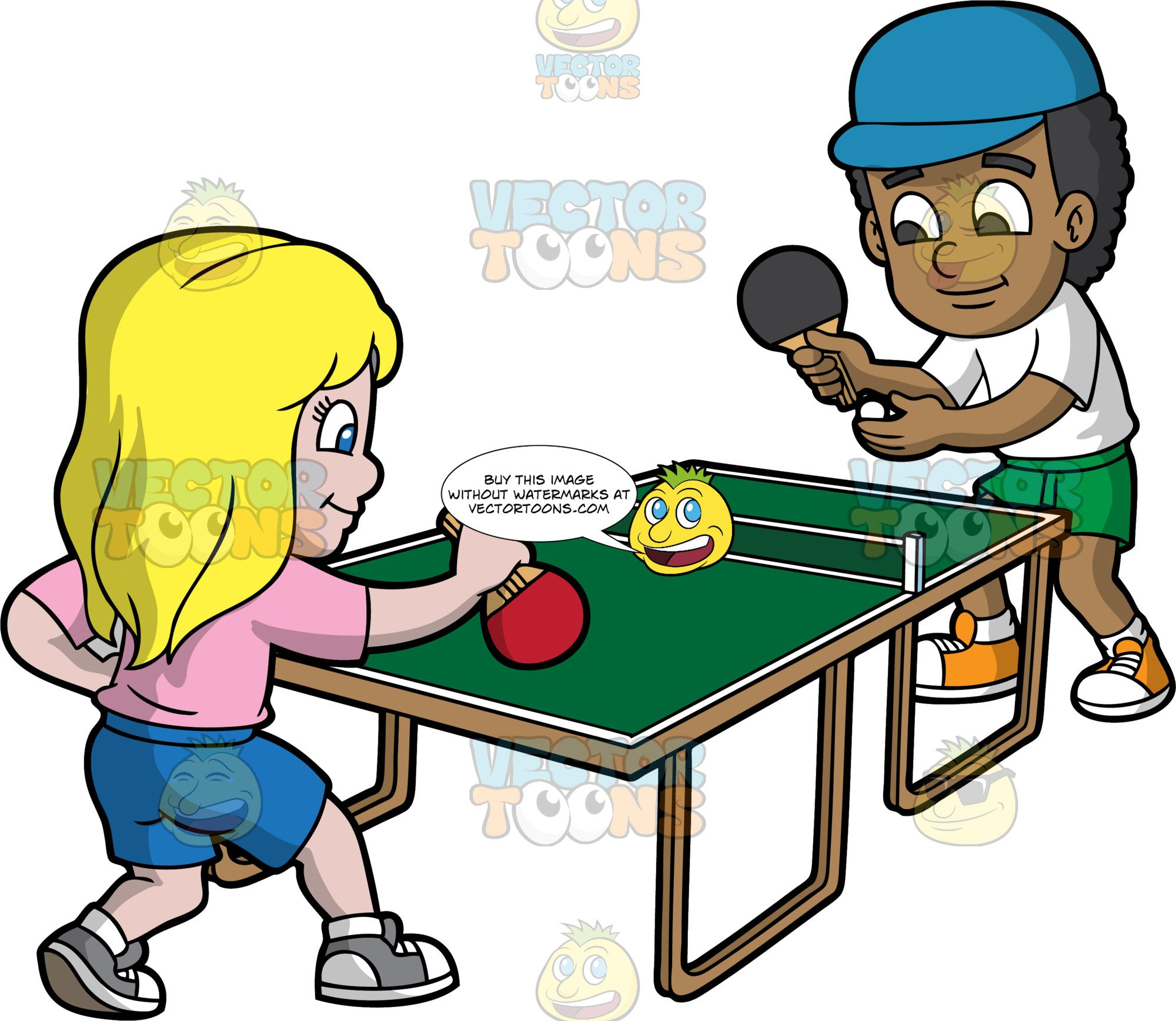 A Black Boy And White Girl Playing Table Tennis.