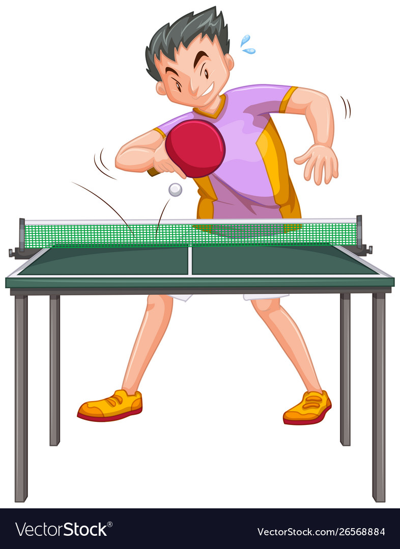 Man playing table tennis isolated.