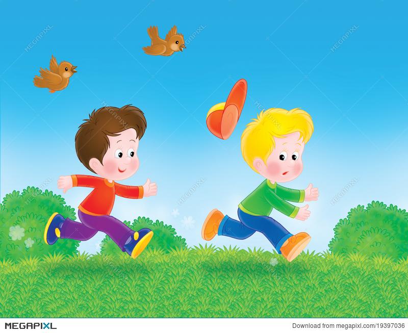 Running Boys Play Tag Illustration 19397036.