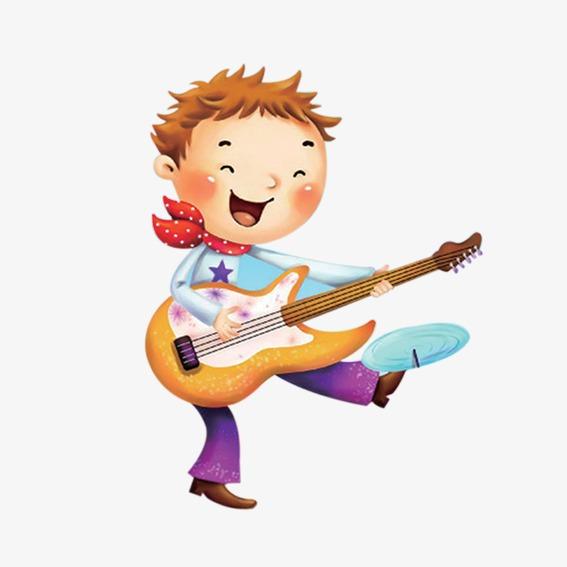 Cartoon boy playing guitar PNG clipart.